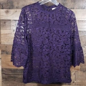[Loft] Overlay Lace Blouse with Bell Sleeves  S